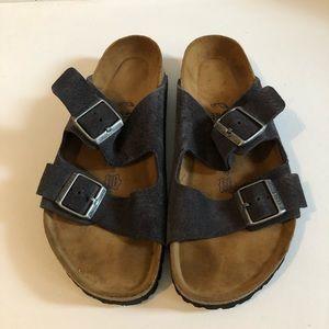 Birkenstock's Size 41, dark grey, suede, two strap